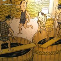 A cartoon at the Higeta soy-sauce factory museum (above); The quaint Choshi-Dentetsu train
