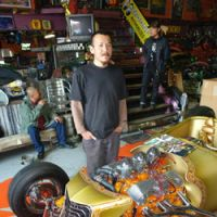 Junichi Shimodaira with his '27 Ford T Roadster at the shop Paradise Road in Nagoya.