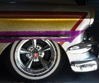 Candy and chrome: A 1954 Chevy 210 owned by Hisashi Ushida at his shop, Cholo's Custom, in Nagoya. | MICHAEL McCABE PHOTOS