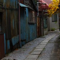 Rhapsody in blue: Many small Kita Senju streets have an elegantly worn look like this one. | KIT NAGAMURA PHOTOS