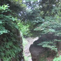 Wrong turn: Tomb visitors must take a right when reaching the cliff portals of the Nagoekiri-doshi Pass on their left.
