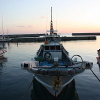 The still of sunset at Gima fishing port.