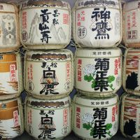 Nectar of the gods: Offerings of casks of Nada sake at ancient Ikuta Shrine in Kobe.