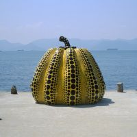 Seaboard gourd: Yayoi Kusama's 'Pumpkin' stands taller than a man. A red version also stands near the dock at Miyanoura. | STEPHEN MANSFIELD PHOTOS