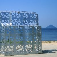 Sea through:  This mysterious semi-transparent sculpture commands a terrific view of the Seto Inland Sea.