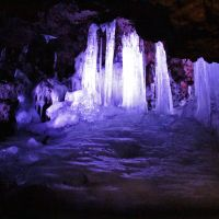 The sparkling pillars in Narusawa Ice Cave.