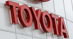 Tarnished image: A Toyota sign is seen at the Wilsonville Toyota dealership in Wilsonville, Oregon, in March.   AP