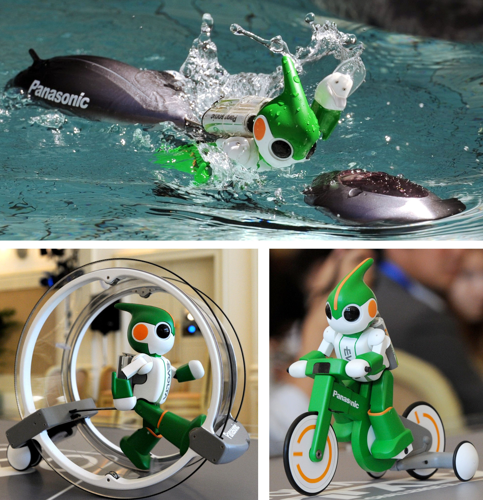 Charging on: These three versions of Panasonic's Evolta-kun robot ? one that swims, another that runs and a third that cycles ? will be used in a triathlon challenge next month in Hawaii. | KYODO PHOTO