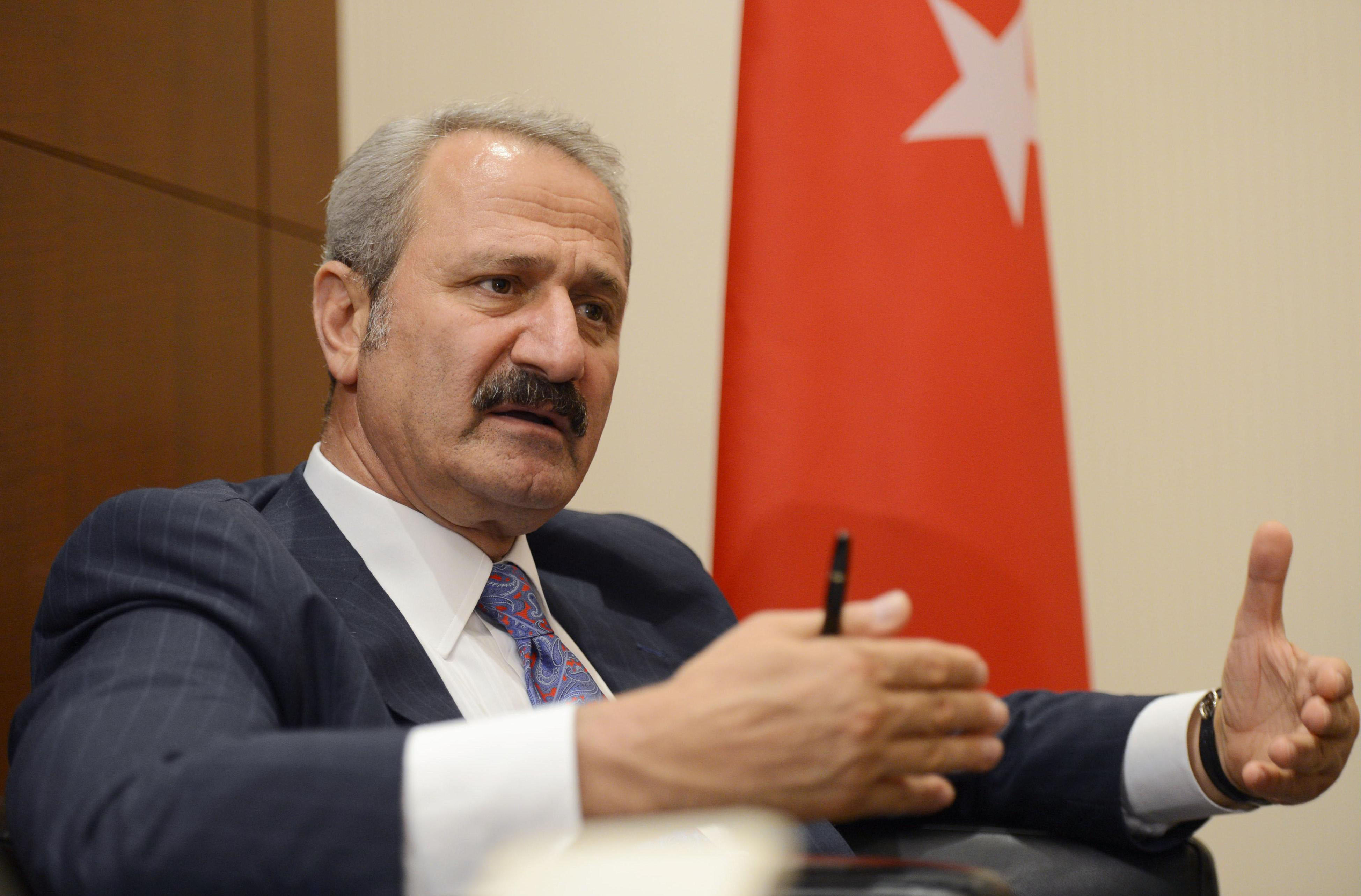 Let's make a deal: Turkish Economy Minister Zafer Caglayan speaks during an interview in Tokyo on Thursday.   KYODO