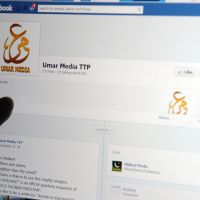 Social jihad: A journalist points at a Facebook page used by the Pakistani  Taliban in Islamabad on Friday. | AFP-JIJI