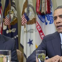 Debt deal: President Barack Obama, accompanied by House Speaker John Boehner, speaks to reporters during a meeting of the bipartisan, bicameral leadership of Congress to discuss the deficit and economy at the White House in Washington in November. | AP