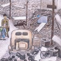 Sketches by Hiroshi Kobayashi of the Great Tokyo Air Raid include charred bodies along a street in Honjo | IMAGES COURTESY OF HIROSHI KOBAYASHI