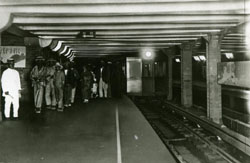 Fancy this: Passengers exit a subway train at Ueno Station on the Ginza Line in 1927, the year the line opened. | COURTESY OF TOKYO METRO CO.