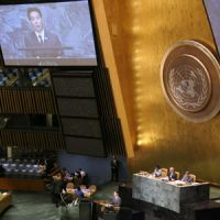 Climate confab: Foreign Minister Seiji Maehara delivers a speech during a high-level meeting on biodiversity at the U.N. last Wednesday. | KYODO PHOTO
