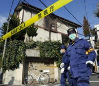 CSI Tokyo: Police Tuesday comb the area around a house in Meguro Ward, Tokyo, where an 87-year-old man was fatally stabbed and his 81-year-old wife wounded Monday at their door. | KYODO PHOTO