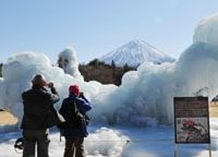 Artistic license: With Mount Fuji towering in the distance, photographers take pictures of an ice sculpture representing a Kunimasu salmon in the process of being made at the Saiko Wild Birds Park in Fuji-Kawaguchi, Yamanashi Prefecture. | KYODO PHOTO