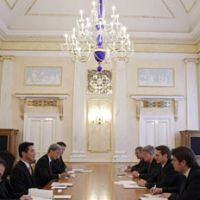 Island entreaty: Sergei Naryshkin, head of the Russian Presidential Administration (third from right), and Foreign Minister Seiji Maehara (third from left) hold talks in Moscow on Saturday. | AP PHOTO