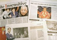 Out of line: British newspapers report on the controversy sparked by a BBC program that joked about Tsutomu Yamaguchi, who lived through both the Hiroshima and Nagasaki atomic bombings in 1945.   KYODO PHOTO