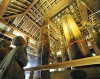 Rare sight: Visitors admire the interior of the three-story east pagoda of Yakushiji Temple in Nara on Tuesday, the first day it was open to the public since it was built some 1,300 years ago.   KYODO PHOTO