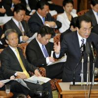 Under fire: Prime Minister Naoto Kan speaks before the Upper House Budget Committee on Friday.   KYODO PHOTO