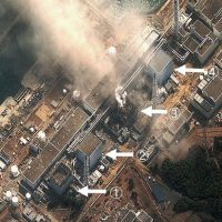 Source of worry: This satellite image provided by the U.S. Institute for Science and International Security on Monday shows the stricken Fukushima No. 1 nuclear power plant and damage to the No. 1 and No. 3 reactors.   ISIS/KYODO PHOTO