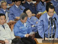 Crisis control: Prime Minister Naoto Kan speaks at a meeting of the Upper House Budget Committee on Tuesday.   KYODO PHOTO