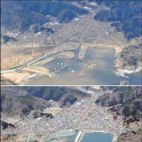 Wiped off the map: These twin images show the city of Miyako, Iwate Prefecture, on Monday, following the devastating tsunami, and in March last year. | KYODO PHOTO