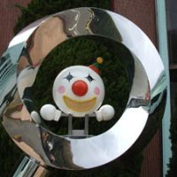 A mascot outside the museum is designed to help children understand the benefits of nuclear energy.   ERIC JOHNSTON