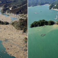 Coastal cleanup: Debris from houses destroyed the previous day by the monster tsunami clogs the coastline in Ishinomaki, Miyagi Prefecture, on March 12. Right: The same coastline is seen on Friday.   KYODO