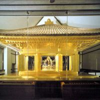 Heritage hot spot: Konjikido, a mausoleum covered in gold leaf and dating from the 12th century, is a key part of the Chusonji Temple complex in Hiraizumi, Iwate Prefecture, that also includes (below) Hakusan Jinja, a Shinto shrine, and the grounds of the former Motsuji Temple, which was destroyed between the 13th and 16th centuries. | KYODO/CULTURAL AFFAIRS AGENCY, YOSHIAKI MIURA