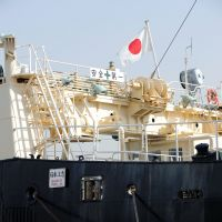 Catch of the day: Members of the media walk past the whaling ship Nisshin Maru in Tokyo in April 2008.   BLOOMBERG