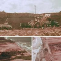 Ground zero: Bulldozers (top) take the top off a 35-meter bluff to prepare the site for the Fukushima No. 1 nuclear plant in the late 1960s in this image taken from the documentary 'Reimei' ('Dawn'). Left: The construction site is seen after the leveling work. Right: An excavated area where the emergency diesel generators were installed is seen at the construction site. | TOKYO ELECTRIC POWER CO.