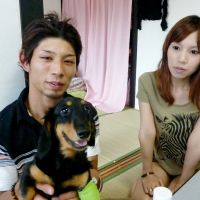 Perseverance: Masato and Manami Ishida hang out with their dog Maro at their new home in Hasuda, Saitama Prefecture, on July 14 after registering their marriage with the city office. | KYODO