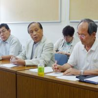 Textbook case: Members of a citizens' group hold a news conference in Yokohama on July 25 after handing a petition to the city opposing the use of 'nationalistic' history textbooks. | KYODO PHOTO