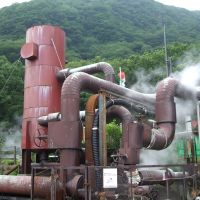 From Earth: This contraption, cobbled together with pipes and cylinders of varying sizes, is actually a geothermal plant that generates power for the adjacent Kuju Kanko Hotel and hot-springs resort in the mountains of Oita Prefecture. | ERIC JOHNSTON PHOTO