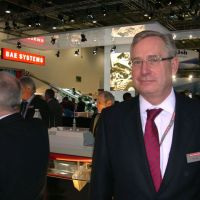 Aerial combatant: Tony Ennis of BAE Systems, seen here at a defense fair in London on Sept. 14, is trying to get Japan to buy the Eurofighter Typhoon over U.S. planes. | KYODO
