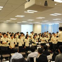 Auld lang syne: High school students from the Tohoku region who participated in the three-day Tohoku Future Leaders Summit in Tokyo sing together at the end of the event Oct. 30. | COURTESY OF TOMOYUKI SOWA