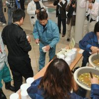 Standing down: Miso soup is served Friday at J. Village in Naraha, Fukushima Prefecture, the base camp for workers trying to contain the nuclear crisis at the Fukushima No. 1 plant. | POOL