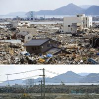 The city of Rikuzentakata, Iwate Prefecture, is pictured (top) on March 12, 2011, the day after it was hit by a massive tsunami. Above: A photo taken about nine months later shows the destroyed buildings and debris have mostly been cleared, paving the way for reconstruction.