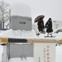 Getting a reading: Snow covers a radiation-measuring device on the campus of Fukushima University on Saturday.   KYODO