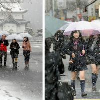 Tourists from Tokushima take in the Imperial Palace in Chiyoda Ward. Right: Girls meanwhile head to high school in Ota Ward. | SATOKO KAWASAKI, KYODO