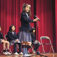 Students at Columbia International School in Tokorozawa, Saitama Prefecture, take part in a school spelling bee held on Feb. 2 to choose a champion to advance to The Japan Times Spelling Bee. | YOSHIAKI MIURA
