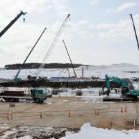 Dangerous ground: Recycleable-Fuel Storage Co. works on construction of a nuclear fuel temporary storage facility Friday in Mutsu, Aomori Prefecture. | KYODO