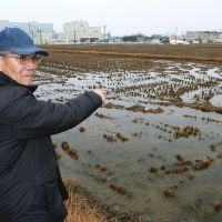 No going back: Hisahiko Okami, 68, points to his farmland, which was contaminated with toxic cadmium. The soil was replaced in 1992, but he hasn't grown rice there since 1974. | KYODO