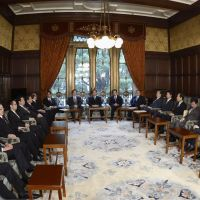 Ready, set: Cabinet members pose Friday morning before their meeting to finalize a bill to raise the unpopular sales tax. | KYODO