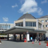 Off the ropes: The Onagawa Community Medical Center is seen Sunday in the town of Onagawa, Miyagi Prefecture. The facility, which was severely damaged by last year's earthquake and tsunami, was rebuilt with donations from Switzerland. | KYODO