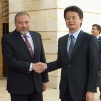 A meeting of minds: Foreign Minister Koichiro Genba meets his Israeli counterpart, Avigdor Lieberman, in Jerusalem on Tuesday. | KYODO