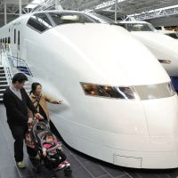 Next generation: A family checks out a shinkansen train at the SCMaglev and Railway Park in Nagoya on March 1. | KYODO