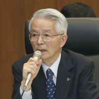 Being grilled: Tokyo Electric Power Co. Chairman Tsunehisa Katsumata answers questions Monday from a Diet-appointed panel investigating the Fukushima nuclear disaster. | KYODO