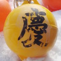 Long way from home: This buoy, which formed part of a sign for a restaurant in Minamisanriku, Miyagi Prefecture, was found on Middleton Island in the Gulf of Alaska after it was swept away by the March 2011 tsunami. | DAVID BAXTER/KYODO
